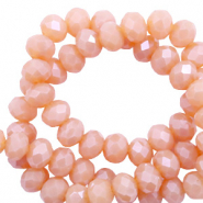 Top faceted beads 6x4mm disc Beige Rose Opal-Pearl Shine Coating