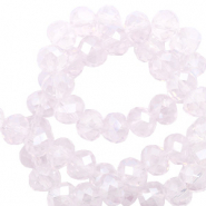 Top faceted beads 8x6mm disc Orchid Ice Rose Opal-Pearl Shine Coating