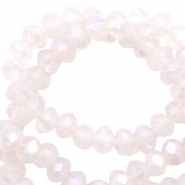 Top faceted beads 4x3mm disc Sand Rose Opal-Pearl Shine Coating