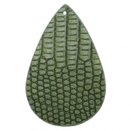 Faux leather pendants drop crocodile Green