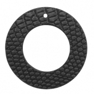 Faux leather pendants round crocodile Black