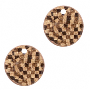 Faux leather pendants round cork Brown