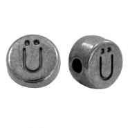 DQ European metal letter beads Ü Gunmetal (nickel free)