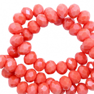 Top faceted beads 4x3mm disc Coral Red-Pearl Shine Coating
