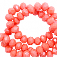Top faceted beads 3x2mm disc Coral Red-Pearl Shine Coating