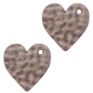 DQ European leather charms heart Toffee Brown