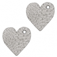 DQ European leather charms heart Concrete Grey