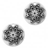 DQ European metal charms flower round 22mm Antique Silver (nickel free)