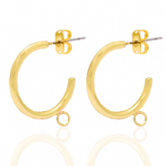DQ European metal findings creole earrings 20mm with loop Gold (nickel free)