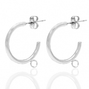 DQ European metal findings creole earrings 20mm with loop Antique Silver (nickel free)