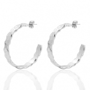 DQ European metal findings creole earrings 38mm irregular Antique Silver (nickel free)