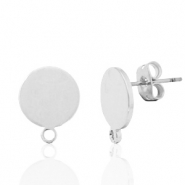 DQ European metal findings earpin round 10mm with loop Antique Silver (nickel free)