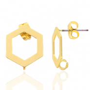 DQ European metal findings earpin hexagon with loop Gold (nickel free)
