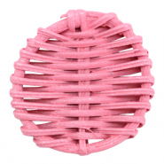 Braided rattan pendants round 40mm Pink