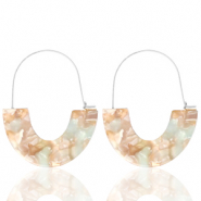 Trendy earrings resin Beige Blue-Silver