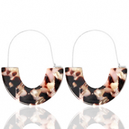 Trendy earrings resin Brown Pink-Silver