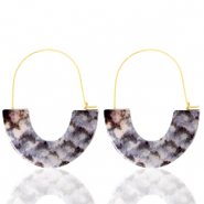 Trendy earrings resin snake Grey White-Gold