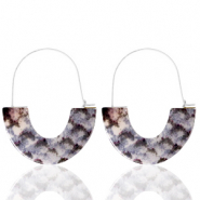 Trendy earrings resin snake Grey White-Silver