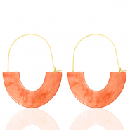 Trendy earrings resin Living Coral Red-Gold