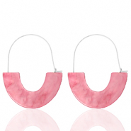 Trendy earrings resin Pink-Silver