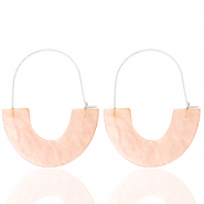 Trendy earrings resin Peach-Silver