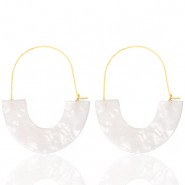 Trendy earrings resin White-Gold