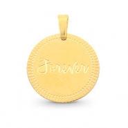 "Stainless steel charms round 15mm ""forever"" Mix&Match Gold"