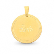 "Stainless steel charms round 15mm ""love"" Mix&Match Gold"