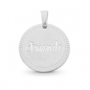 "Stainless steel charms round 15mm ""friends"" Mix&Match Silver"