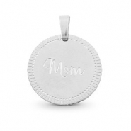 "Stainless steel charms round 15mm ""mom"" Mix&Match Silver"
