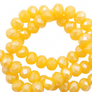 Top faceted beads 4x3mm disc Freesia Golden Yellow Opal-Pearl Shine Coating