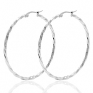 Stainless steel earrings creole 50mm twist Silver