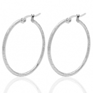 Stainless steel earrings creole 35mm Silver