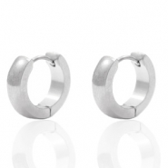 Stainless steel earrings creole rounded 13mm Silver