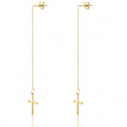 Stainless steel earrings cross Gold