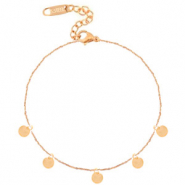Stainless steel anklets coins Rose Gold