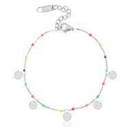 Stainless steel bracelets rainbow coins Silver