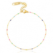 Stainless steel anklets rainbow Gold