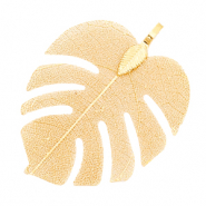 Charm with 1 loop metal tropical leaf Sepia Gold (nickel free)