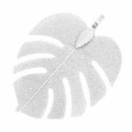 Charm with 1 loop metal tropical leaf Platinum Silver (nickel free)