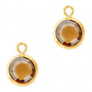 DQ Crystal glass charms round 6mm Gold-Topaz