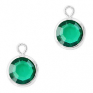 DQ Crystal glass charms round 6mm Silver-Emerald Green