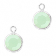 DQ Crystal glass charms round 6mm Silver-Powder Opal Green