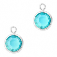 DQ Crystal glass charms round 6mm Silver-Aquamarine Blue