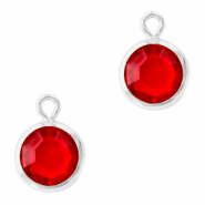 DQ Crystal glass charms round 6mm Silver-Light Siam Red