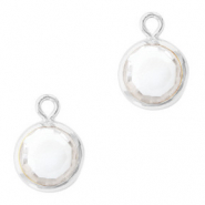 DQ Crystal glass charms round 6mm Silver-Crystal