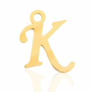 Stainless steel charms initial K Gold