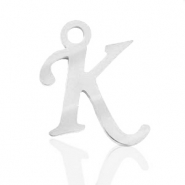 Stainless steel charms initial K Silver
