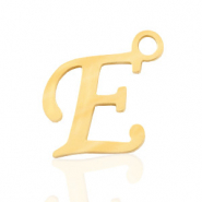 Stainless steel charms initial E Gold