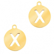 Stainless steel charms round 10mm initial coin X Gold